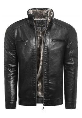 Oteplená pánská kožená bunda černé barvy na zimu