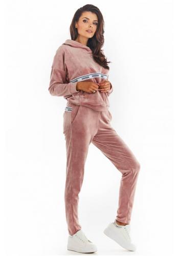 Růžové teplé sametové tepláky s ozdobným pruhem pro dámy
