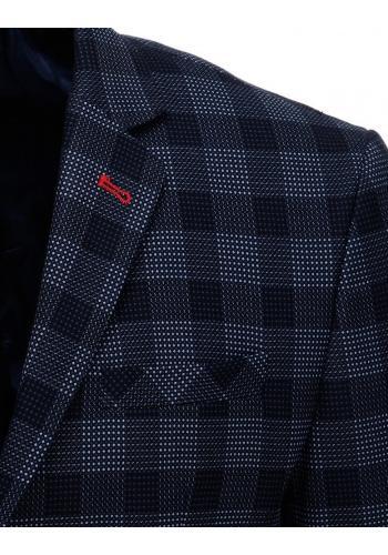 Tmavě modré jednořadé sako s kostkovaným vzorem pro pány
