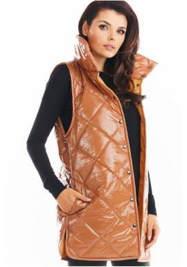 Béžová prošívaná vesta s vysokým límcem pro dámy