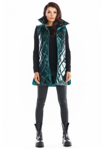 Dámská prošívaná vesta s vysokým límcem v zelené barvě