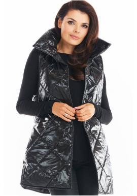 Černá prošívaná vesta s vysokým límcem pro dámy