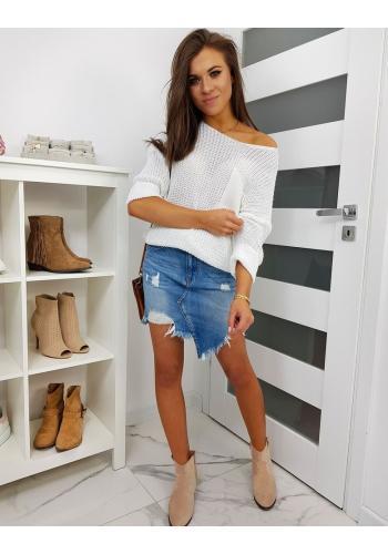 Oversize dámský svetr bílé barvy ve výprodeji