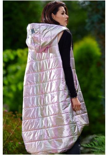 Dlouhá dámská holografická vesta růžové barvy s prošíváním