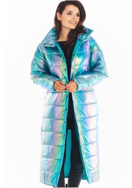 Dámská dlouhá holografická bunda s prošíváním v modré barvě