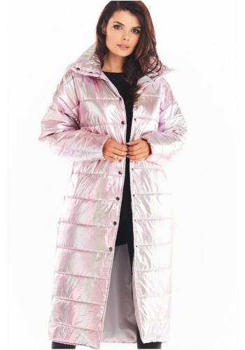 Růžová dlouhá holografická bunda s prošíváním pro dámy