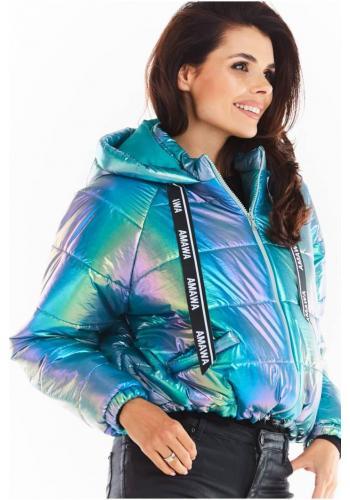 Modrá holografická bunda s oversize střihem pro dámy