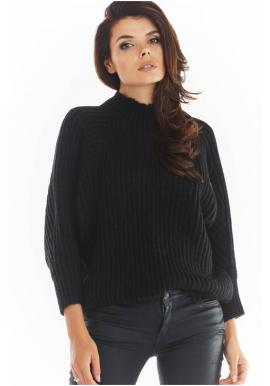 Černý volný svetr s polrolákem pro dámy