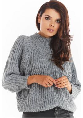 Volný dámský svetr šedé barvy s polrolákem