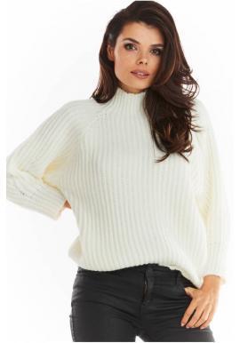 Dámský volný svetr s polrolákem v barvě ecru