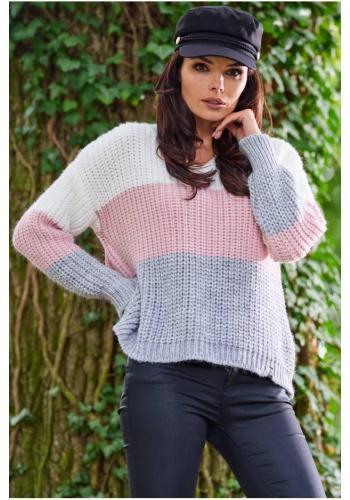 Růžový módní svetr s véčkovým výstřihem pro dámy