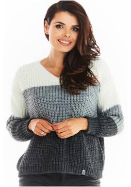Dámský módní svetr s véčkovým výstřihem v šedé barvě