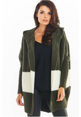 Kaki podzimní kardigán s kapucí pro dámy