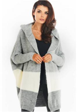 Šedý podzimní kardigán s kapucí pro dámy