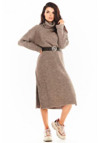 Béžové svetrové šaty s rolákem pro dámy