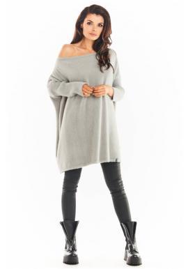 Dámské svetrové šaty s oversize střihem v šedé barvě