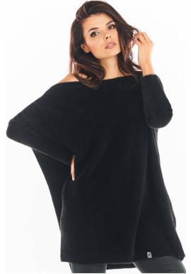 Svetrové dámské šaty černé barvy s oversize střihem