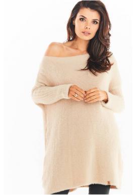 Béžové svetrové šaty s oversize střihem pro dámy