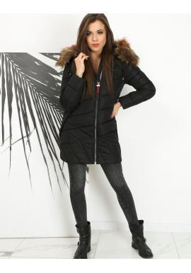 Dámská prošívaná bunda s kapucí v černé barvě