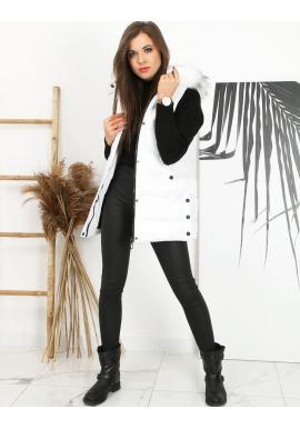 Dámská prošívaná vesta s odepínací kapucí v bílé barvě
