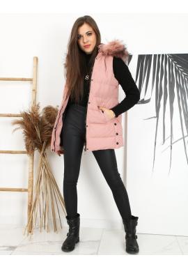 Prošívané dámské vesty růžové barvy s odepínací kapucí