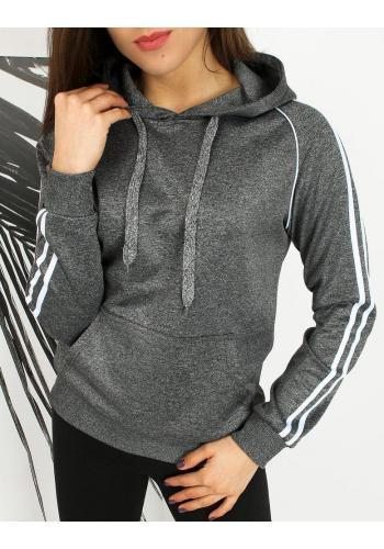 Sportovní dámská mikina tmavě šedé barvy s pruhy