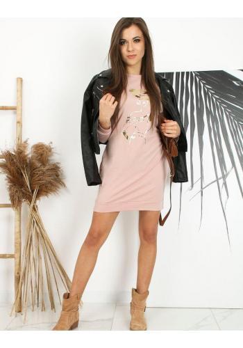 Růžové sportovní šaty s potiskem pro dámy