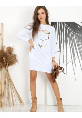 Dámské sportovní šaty s potiskem v bílé barvě