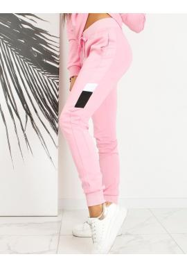 Růžové sportovní tepláky s kontrastními prvky pro dámy