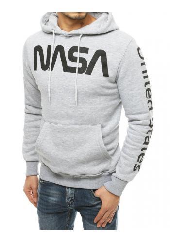 Světle šedá oteplená mikina s potiskem NASA pro pány
