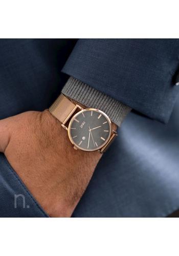 Pánské stylové hodinky s kovovým řemínkem v zlato-šedé barvě