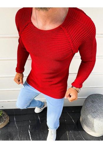 Stylový pánský svetr červené barvy s kulatým výstřihem