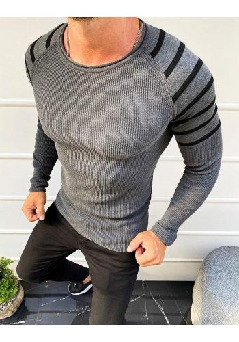 Pánské stylové svetry s pruhovanými rukávy v tmavě šedé barvě