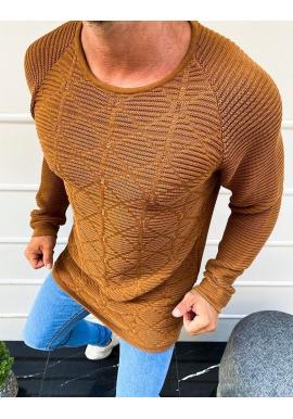 Vzorovaný pánský svetr hnědé barvy s kulatým výstřihem