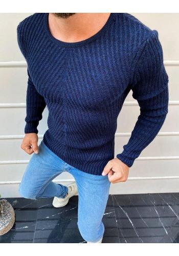 Tmavě modrý klasický svetr s kulatým výstřihem pro pány