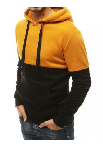 Sportovní pánská mikina černo-žluté barvy s kapucí