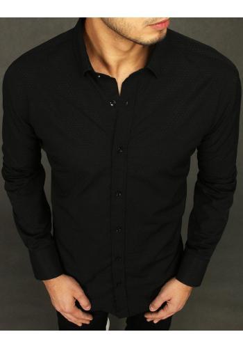 Černá vzorovaná košile s dlouhým rukávem pro pány