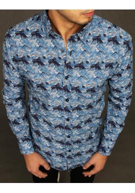 Modrá bavlněná košile se vzorem pro pány