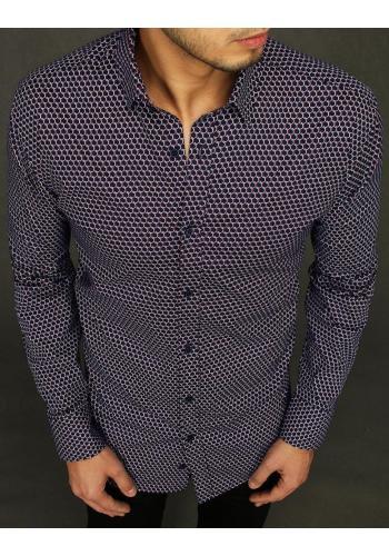 Pánské vzorované košile s dlouhým rukávem v tmavě modré barvě