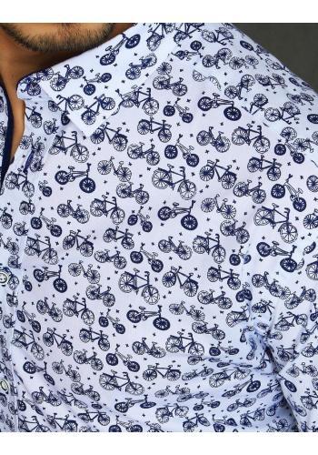 Bílá stylová košile s motivem kol pro pány