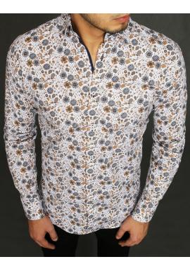 Bílá květovaná košile s dlouhým rukávem pro pány