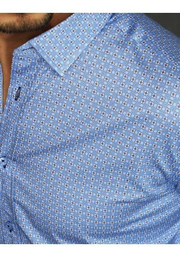 Světle modrá vzorovaná košile s dlouhým rukávem pro pány