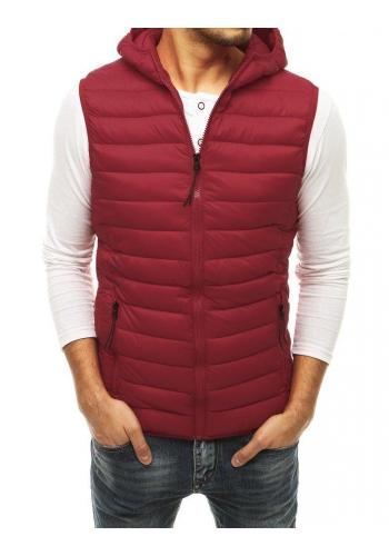Pánská prošívaná vesta s kapucí v bordové barvě