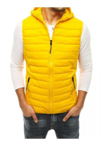 Prošívaná pánská vesta žluté barvy s kapucí