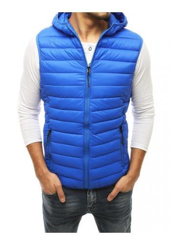 Pánské prošívané vesty s kapucí v světle modré barvě