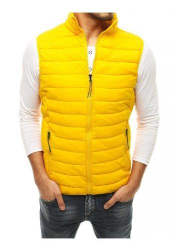 Prošívaná pánská vesta světle žluté barvy na přechodné období