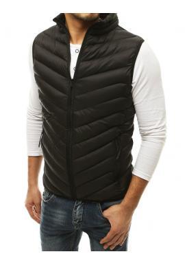 Černá prošívaná vesta bez kapuce pro pány