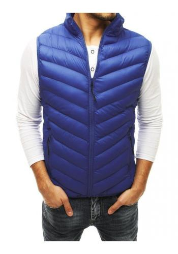 Prošívaná pánská vesta tmavě modré barvy bez kapuce