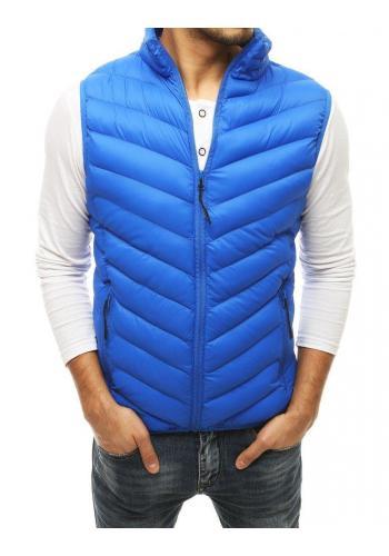 Světle modrá prošívaná vesta bez kapuce pro pány
