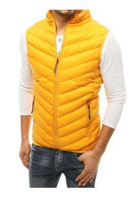 Pánská prošívaná vesta bez kapuce ve žluté barvě